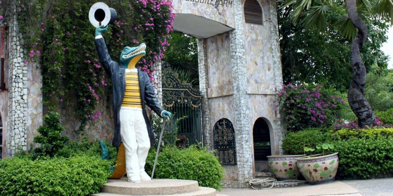 Вход на крокодиловую ферму Парк миллионолетних камней Паттайя, the million years stone park & pattaya crocodile farm, парк камней Паттайя, сад камней Таиланд, сад камней миллионолетних Паттайя