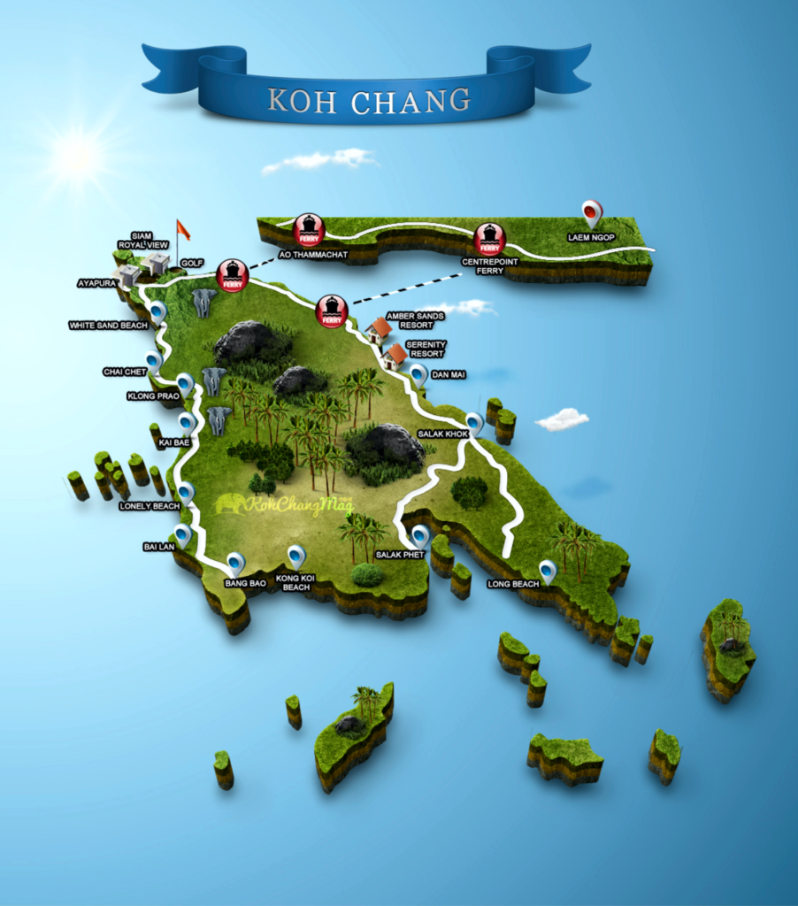 Карта острова ко чанг, таиланд, map of ko chang thailand